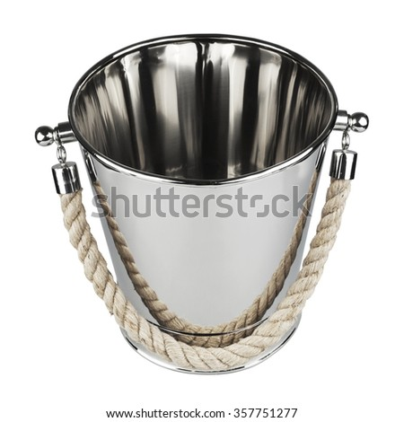 Empty bucket for champagne bottle isolated on a white.