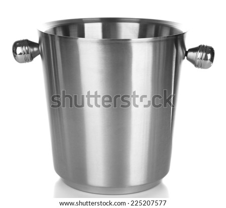 Empty bucket for champagne, isolated on white