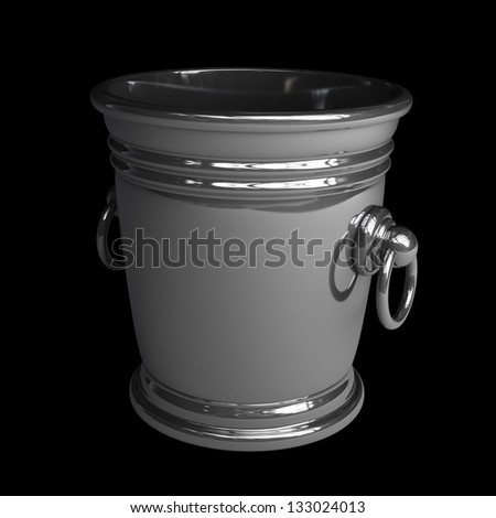 empty bucket for Ice isolated on black background High resolution 3d render