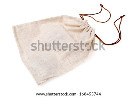Empty burlap pouch on white background - stock photo