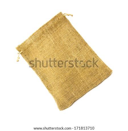 Empty burlap sack isolated on white background - stock photo
