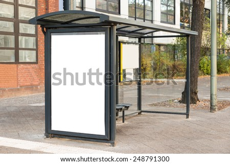 Empty Bus Stop Travel Station In City - stock photo