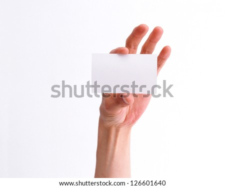 empty business card in a man hand isolated on white