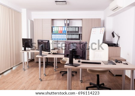 Empty business office interiorin modern building. Finance and style