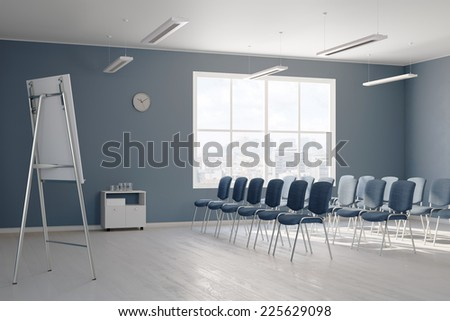 Empty business seminar room with chairs in rows (3D Rendering) - stock photo