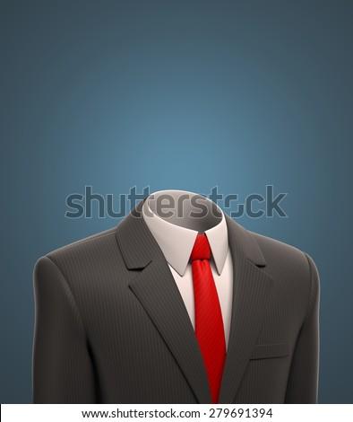 empty business suit 3d illustration - stock photo