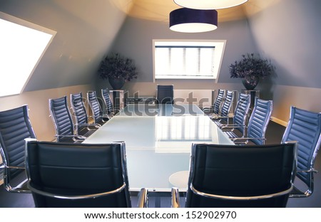 empty business table in luxury office - stock photo