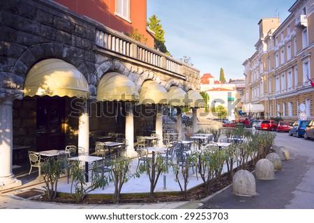 empty cafe in Opatija - stock photo