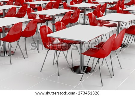 Empty cafeteria with modern minimalistic furniture - stock photo