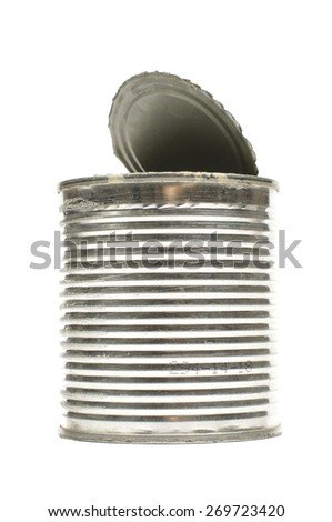 Empty can with open lid isolated on the white background - stock photo