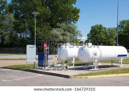 empty car autogas filling station - stock photo