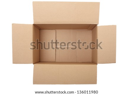 Empty cardboard box on white, clipping path included - stock photo