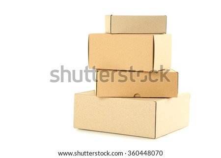 Empty cardboard boxes isolated on a white - stock photo