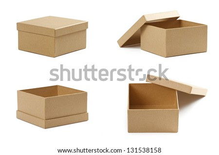 Empty cardboard boxes isolated on white - stock photo