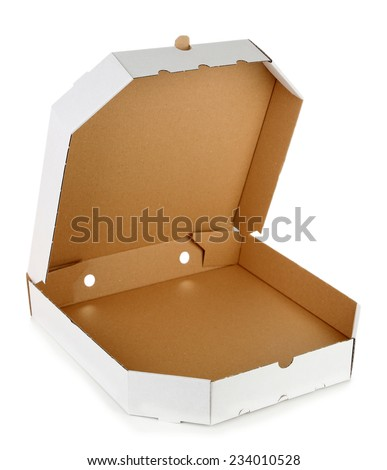 Empty cardboard pizza box, isolated on white - stock photo