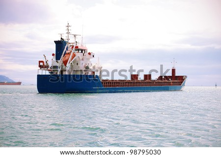 empty cargo container ship in ocean