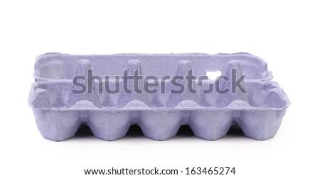 Empty carton egg box. Isolated on a white background - stock photo