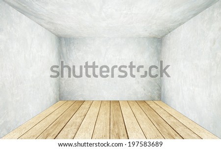 empty cement wall wooden floor room stock photo royalty free