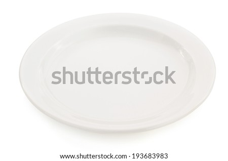 empty ceramic plate isolated on white background