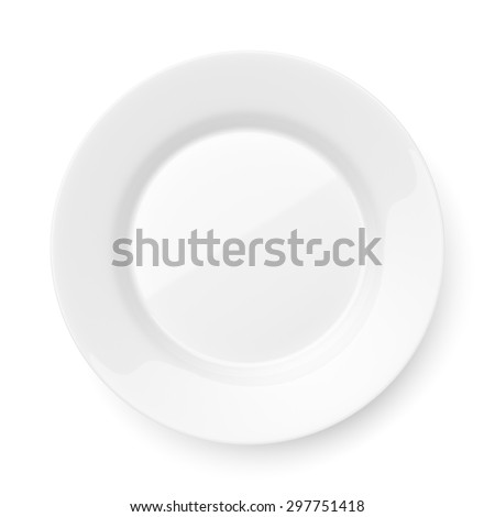 Empty ceramic round plate isolated on white background