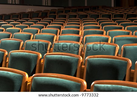 Empty chairs at cinema or theater - stock photo
