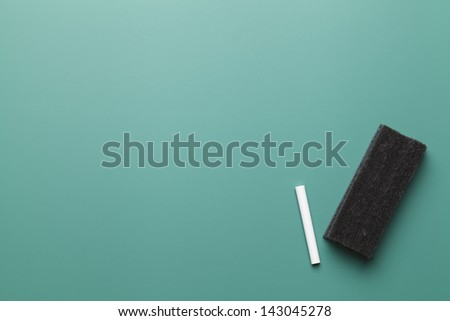 Empty Chalk Board with Copy Space, Chalk and Eraser. - stock photo