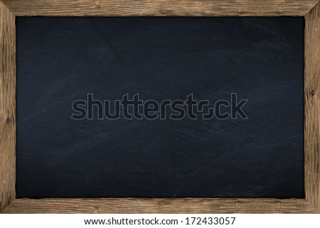 empty chalkboard with wooden frame