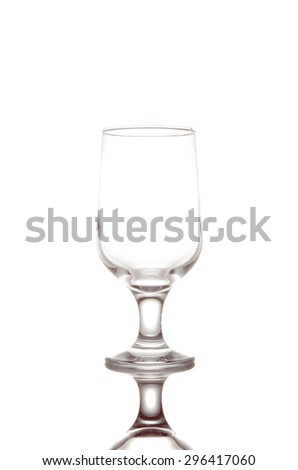 Empty champagne flute, isolated on a white background