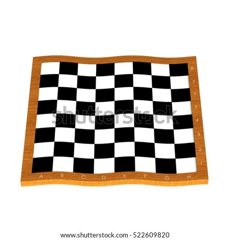 Empty chess board. 3D illustration.