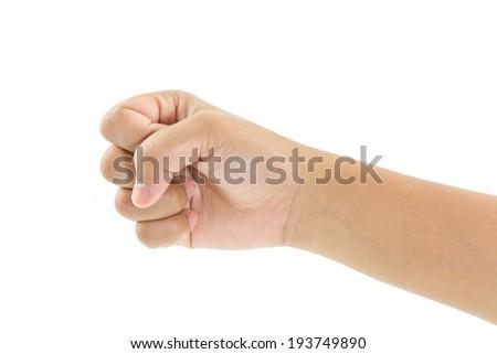 empty child hand holding isolated on white - stock photo