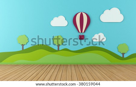 Empty child room with clouds  hot-air and balloon on blue wall - 3d rendering - stock photo