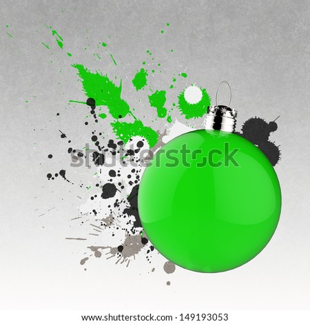 Empty Christmas ornament and splash background