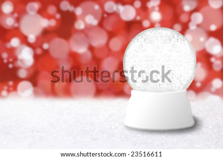 Empty Christmas Snow Globe With Blue Holiday Background. Insert Your Own Image or Text - stock photo