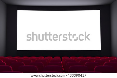 Empty cinema and white screen (done in 3d rendering)