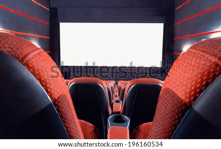 Empty cinema auditorium. Projection screen for insert a picture - stock photo