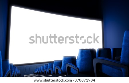 Empty cinema screen with blue seats. Wide. 3d render - stock photo
