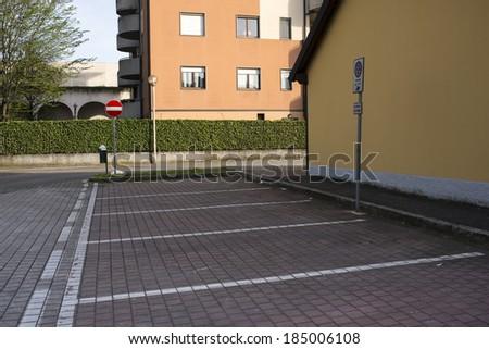 Empty city parking - stock photo