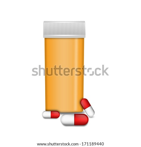 Empty classic bottle with capsules - stock photo