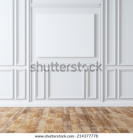 Empty Classic Room With Laminate Flooring - stock photo