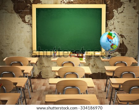 Empty classroom with school desks, chairs and chalkboard. 3d - stock photo