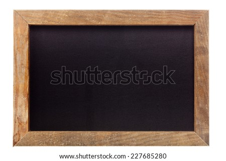 Empty clean old chalkboard isolated on white background - stock photo