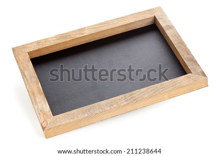 Empty clean old chalkboard on white background