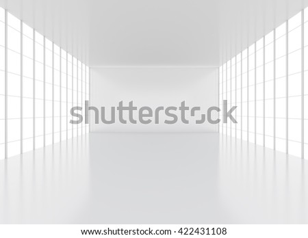 Empty clean white exhibition hall or room win windows. 3D rendering - stock photo