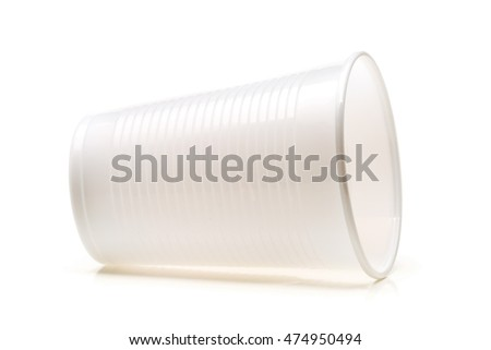 Empty, clean, white plastic cup over white background