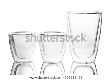 empty clear glass on white background, two layer glass.