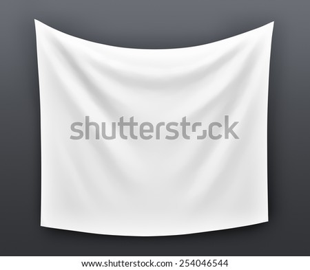 Empty cloth banner. 3d illustration on grey background  - stock photo