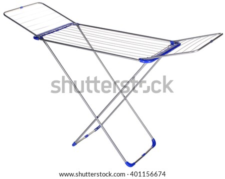 Empty cloth drying rack isolated on white