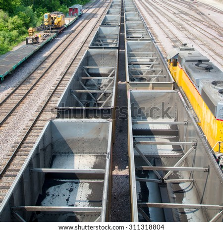 Empty Coal train wagons - stock photo