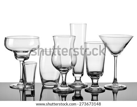 Empty cocktail glasses - stock photo