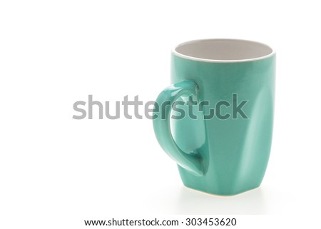 Empty coffee mug , coffee cup isolated on white background - stock photo
